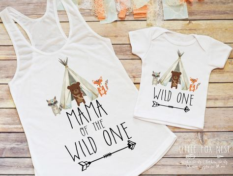 First Birthday Boy, Wild One, Woodland Creatures Birthday, Birthday Boy, Toddler Birthday, Mommy and Me Shirt Set, Teepee Birthday by LittleFoxNest on Etsy https://www.etsy.com/listing/510631274/first-birthday-boy-wild-one-woodland