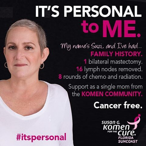 """As we prepare for the upcoming 2015 Florida Suncoast Race for the Cure on October 3rd we will be highlighting a series of personal stories of men and women- survivors co-survivors and caregivers. Each has a unique story to share because """"It's Personal"""". Suzi's story: Last spring I bought a new bra and felt some discomfort when I took it off. I had a mammogram a biopsy and then learned I had breast cancer. I was in shock and cried not just for myself but for my father. He had already endured…"""
