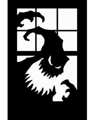scary silhouette goblin halloween window poster cling decal - Halloween Window Decals