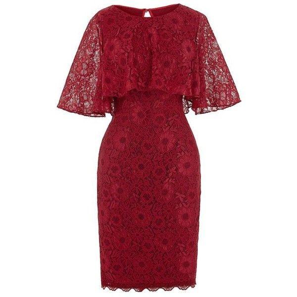 Dark Red Lace Bodycon Short Evening Dress ❤ liked on Polyvore featuring dresses, short dresses, short red cocktail dress, red body con dress, red dresses and short bodycon dresses