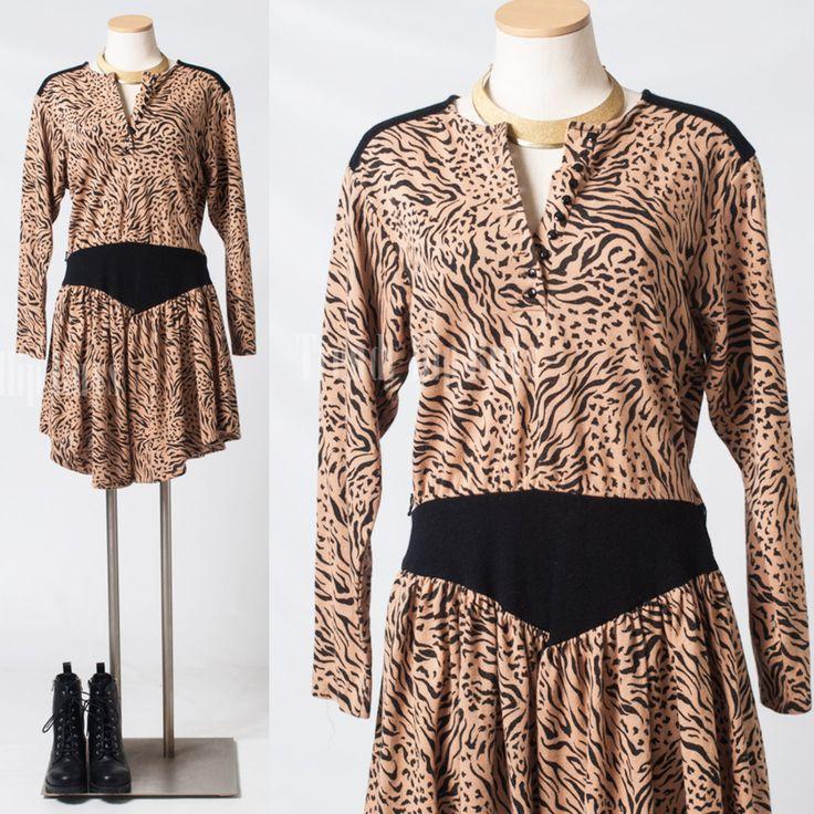 Vintage 80s jumper Animal print jumper tiger leopard print skort - M/L