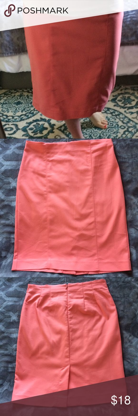 """Coral Pencil Skirt Beautiful coral pencil skirt. Only worn once! Comes right to bottom of knee on 5'5"""" lady. VanHeusen Skirts Pencil"""