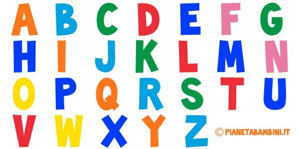 Lettere dell'alfabeto colorate e grandi da stampare