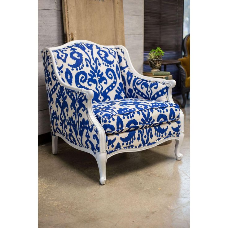 Image of Blue &White Ikat Damask French Provincial Armchair
