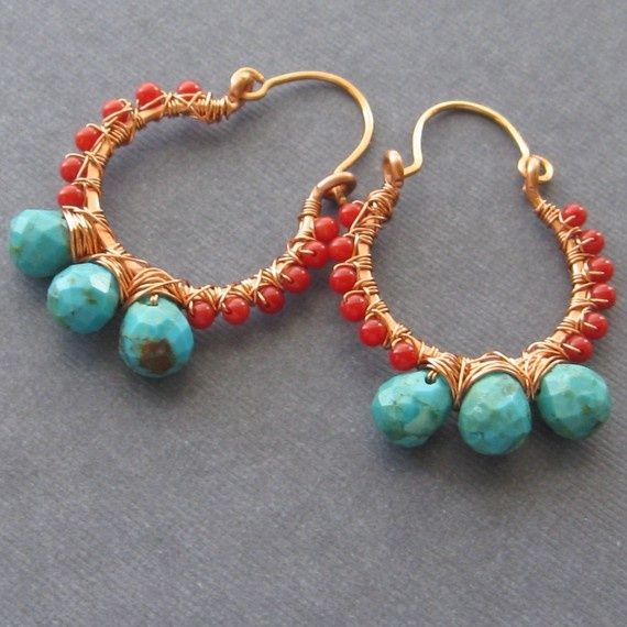Turquoise nad coral wrapped hoop earrings