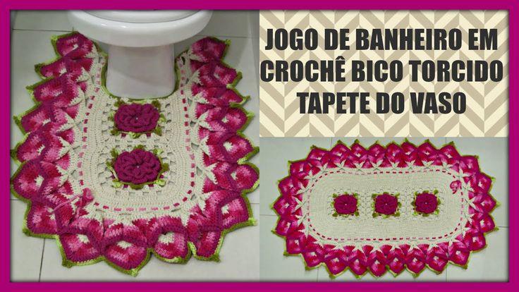 Jogo de Banheiro em Crochê Bico Torcido (Tapete Vaso)
