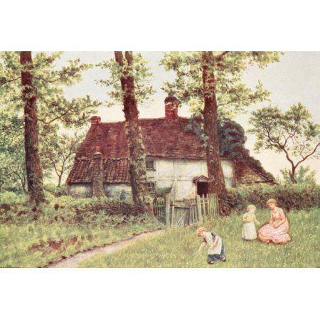 Kate Greenaway 1905 A Surrey cottage Canvas Art - Kate Greenaway (24 x 36)
