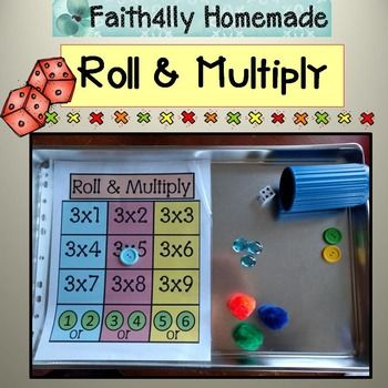 "What a fun way to practice multiplication tables!!  Use dice, and a small ""marker"" to cover up each problem (I like to use either pom poms with magnets glued on, buttons, or gems).Included in this download:- 9 Roll and Multiply game boards for times tables 1-9- 3 Roll and Muliply game boards (mixed practice)Be sure to check out the sample above for more detailed information!"
