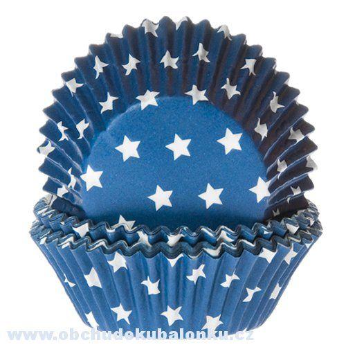Papírové pečící košíčky hvězdičky modrá, bílá