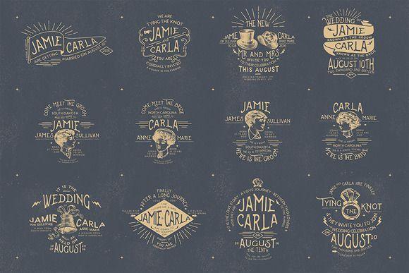 12 Vintage Wedding Badges & Stickers by KlapauciusCo on Creative Market