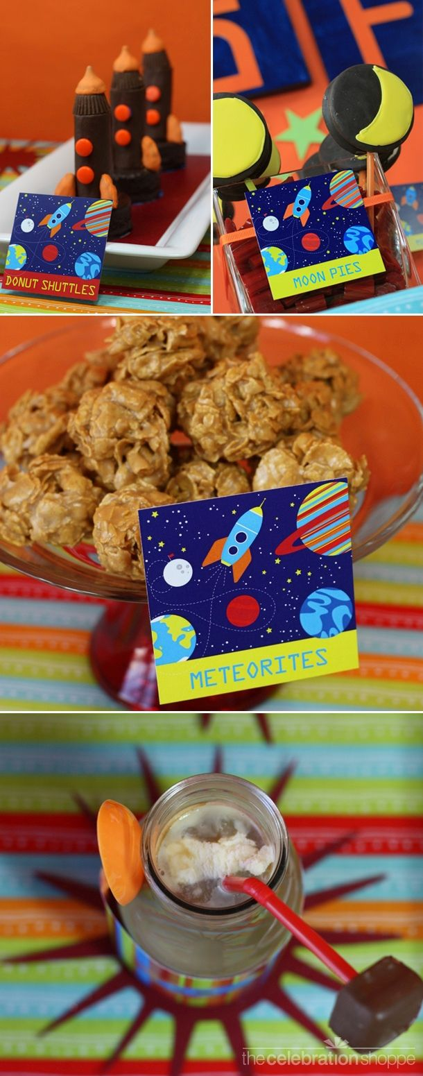 Space Party Yummies. Like the meteorites made with an oat ball type recipe.