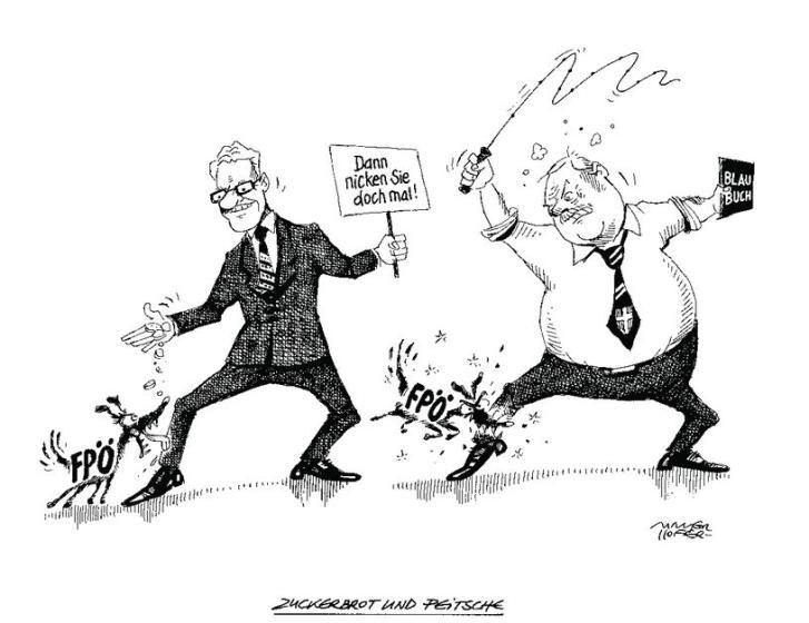"""OÖN-Karikatur vom 24. Juni 2015: """"Zuckerbrot und Peitsche""""  Mehr Karikaturen auf: http://www.nachrichten.at/nachrichten/karikatur/ (Bild: Mayerhofer)"""