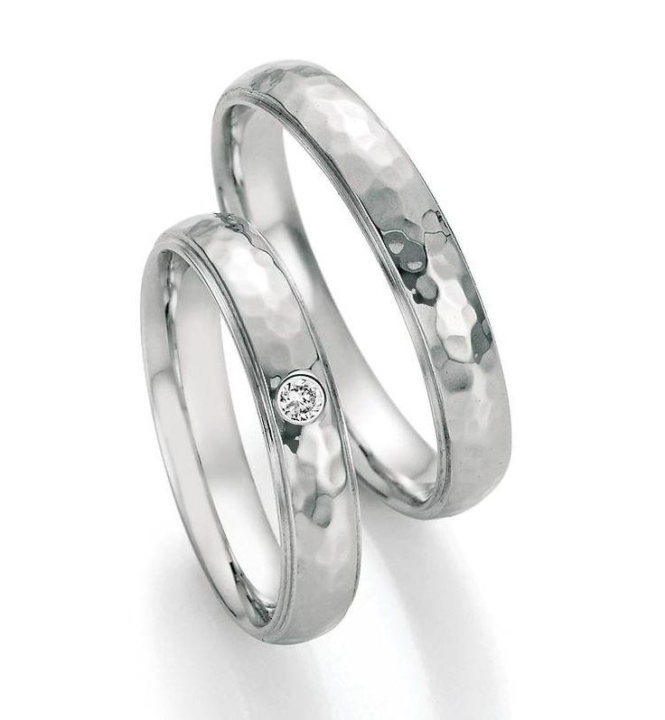 Paar zilveren trouwringen met diamant - Detrouwringshop.be