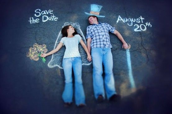 Using chalk to create your perfect Save the Date photo #wedding