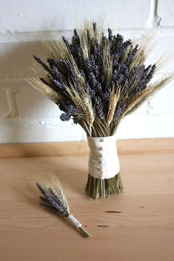 Organic lavender and wheat nosegay bouquet boutonniere