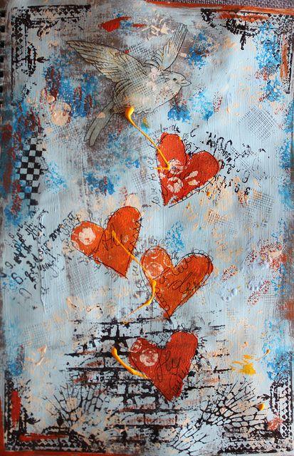 hearts and bird