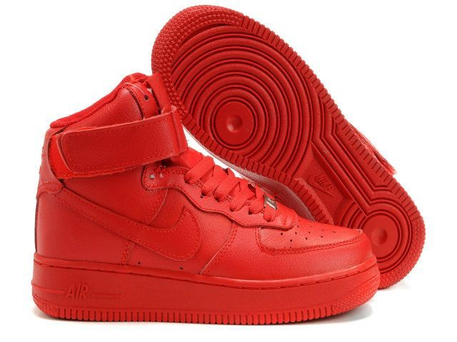 2011 Nike Air Force 1 High Womens Neon Solid Red | Red Shoes ...