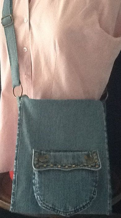 Michael Kors Jeans Upcycled to Messenger Bag by GretasGarb on Etsy, $250.00
