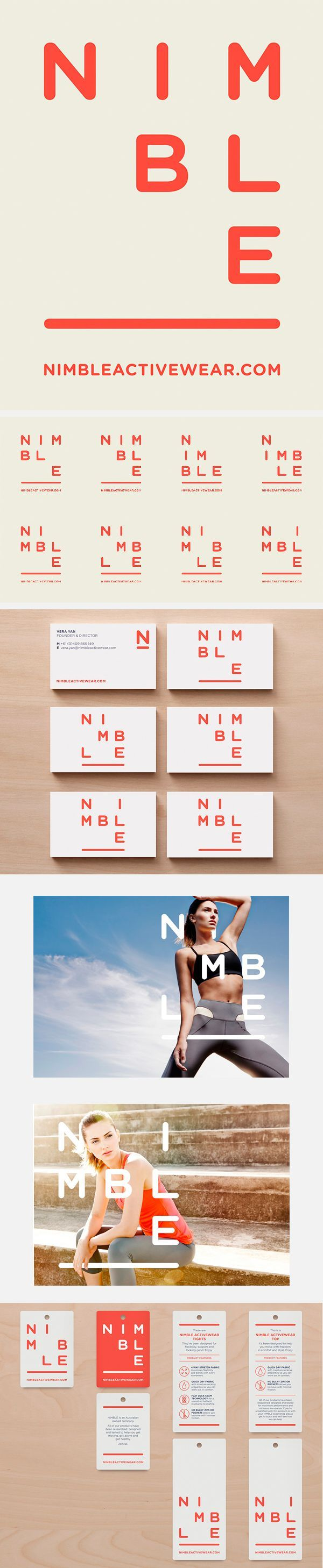 Nimble activewear brand ID  Like how the logo has multiple permutations, and embodies the brand name