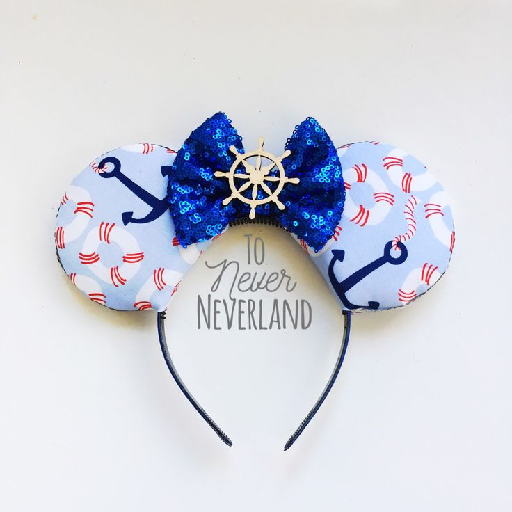 Disney Cruise Ears, Nautical Mickey Ears, Mickey Mouse Ears, Sailor Mickey Ears, Disney Cruise Mickey Ears, Anchors Mickey Ears Headband by ToNeverNeverland on Etsy https://www.etsy.com/listing/515342791/disney-cruise-ears-nautical-mickey-ears