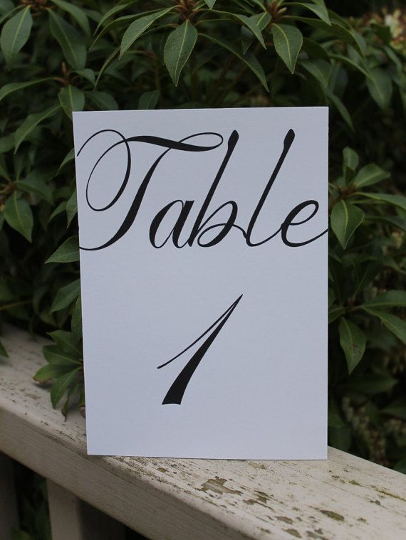 Wedding Table Number Cards Fancy Font Card by OverTheMoonBridal