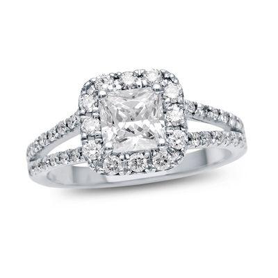 1+CT.+T.W.+Certified+Princess-Cut+Diamond+Frame+Split+Shank+Engagement+Ring+in+Platinum+(H/SI2)