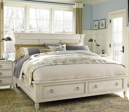 Country Chic Wood Queen Size White Storage Bed