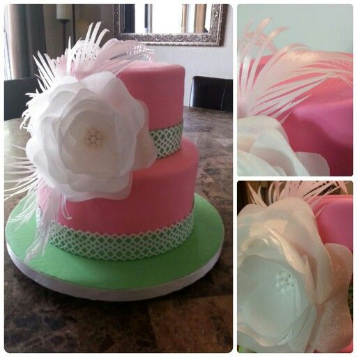 Pink & green babyshower cake. Wafer paper flower & feathers.