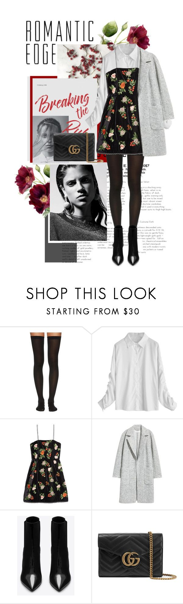 """Romantic Edge"" by fe-y ❤ liked on Polyvore featuring Wolford, Alice + Olivia, H&M, Yves Saint Laurent and Gucci"