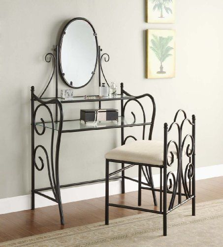 2 Shelf Black Metal Vanity Mirror Amp Chair Set By Bella