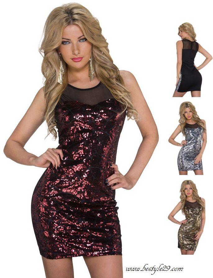 Mini robe de soirée paillettes or argent rouge - bestyle29.com
