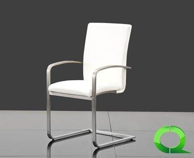 freischwinger anna mit armlehnen edelstahl echt leder weiss der moderne esszimmerstuhl anna. Black Bedroom Furniture Sets. Home Design Ideas