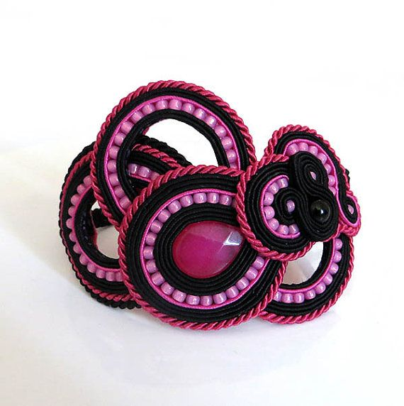Black Fuchsia Soutache Cuff Bracelet hot pink by sutaszula on Etsy