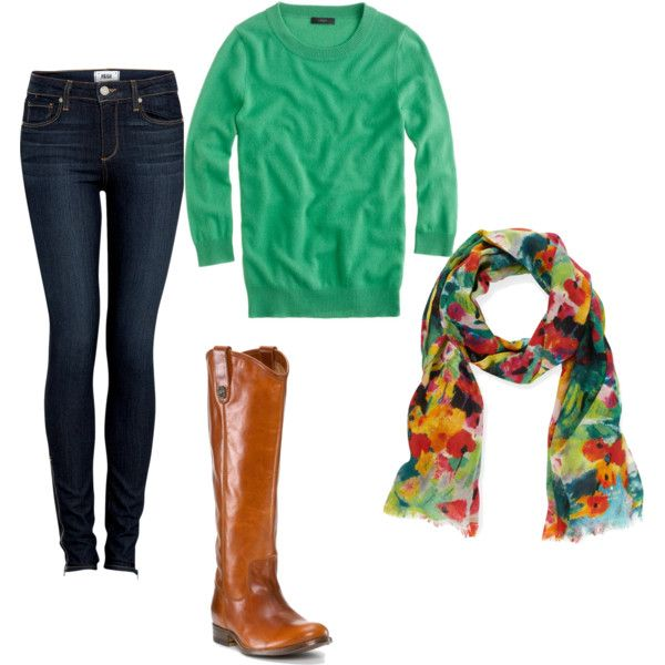 Can't wait for Fall: Green Sweaters, Fall Wint, Floral Scarfs, Fall Lov, Jeans, Color Scarfs, Outfit With Frye Boots, Cute Fall Outfit, Brown Boots