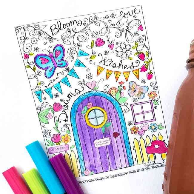 Fairy Garden Coloring Page Garden Coloring Pages Love Coloring