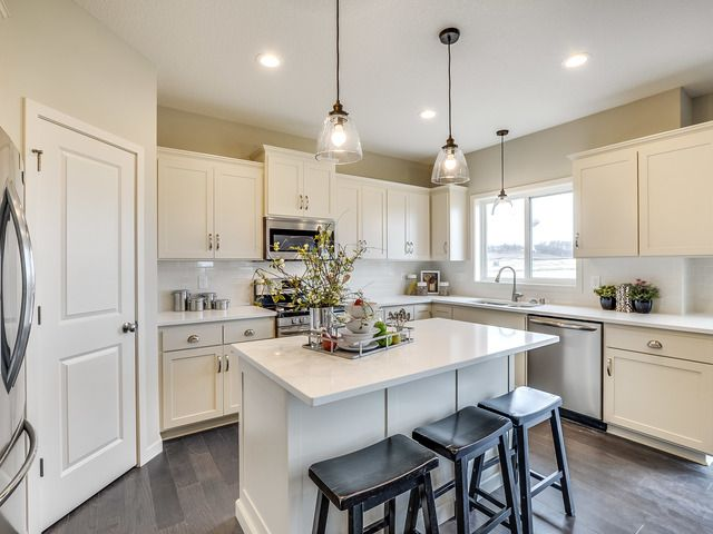 This Fieldstone Family Homes model has many of today's most sought after trends - ship lap, barn door, white trim, grey walls, bright kitchen!  It is currently a model home in Savage, Minnesota