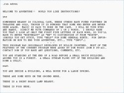 Colossal Cave Adventure - A text adventure game, developed originally in 1976, by Will Crowther for the PDP-10 mainframe.