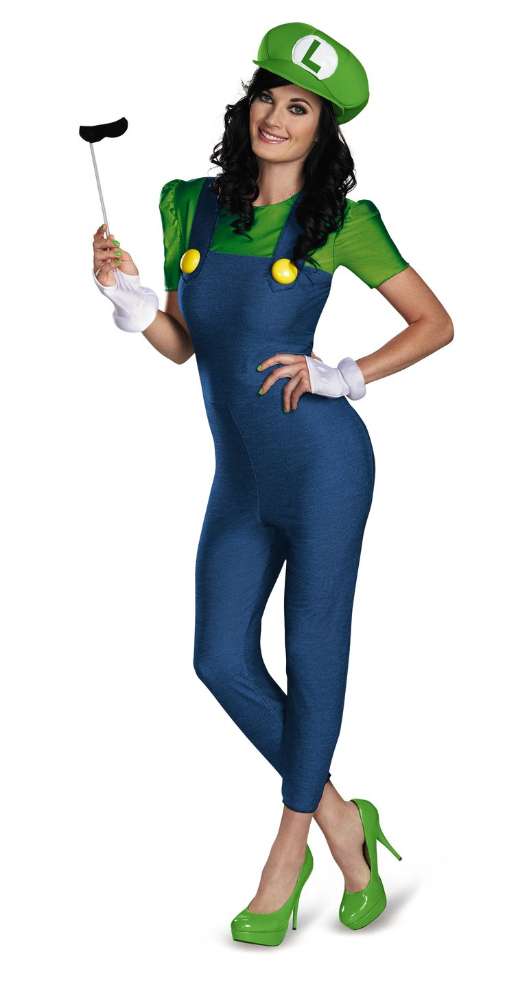 Luigi Lady Halloween Costume - Bounce into this year's Halloween costume solo, or grab a friend to play Mario. Mario and Luigi characters are available for children, men and women. Also, punch things up a bit with an application of cutesy freckles dotted on your cheeks and nose. The Luigi Lady Halloween Costume, inspired by the Nintendo's Mario Bros. character is a delight and a cute costume to sport this Halloween.