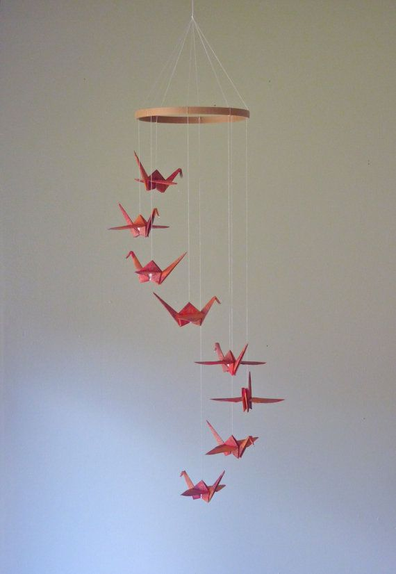 Origami Crane Mobile  Eco Friendly Baby by SpareBedroomStudio, $28.00