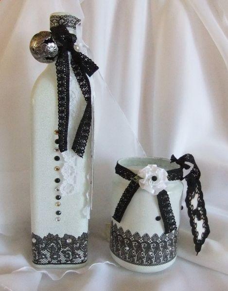 2-er Set Flasche + Glas, Black&White von Monique-Marie auf DaWanda.com