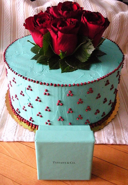 Tiffany Blue and Red Wine Bridal Shower Cake by haute | broccoli, via Flickr