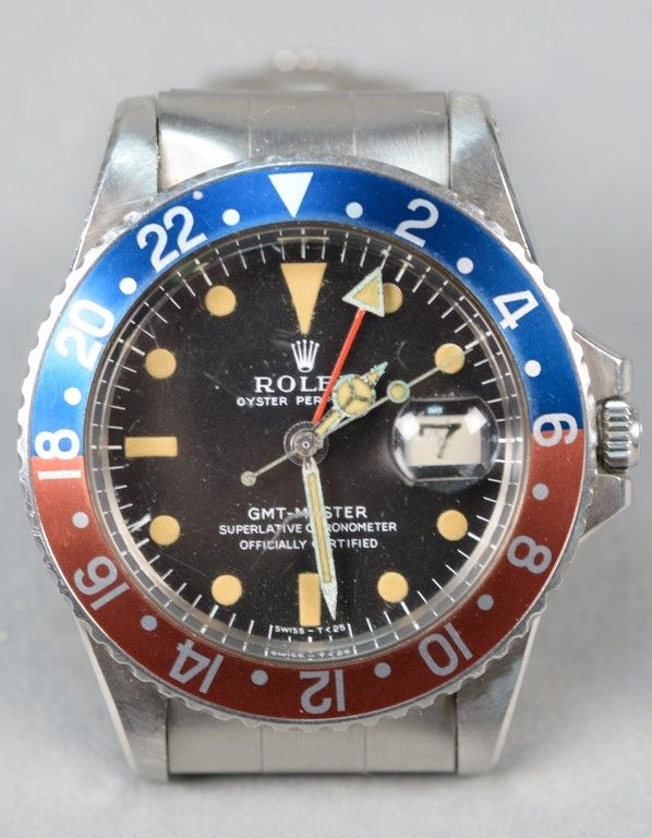 Rolex stainless steel wristwatch GMT Master model 1675, sn-2013101 with original box and papers ~ Realized Price $15,600.00  #nadeausauction