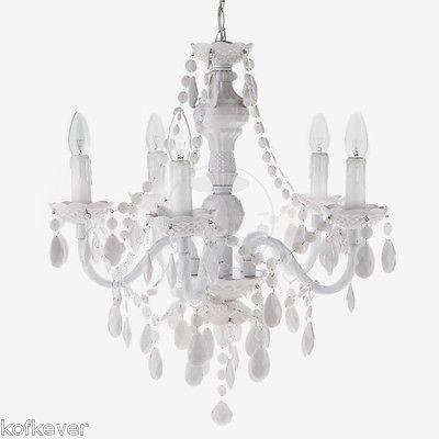 Lampadario classico a gocce barocco in plexiglass bianco lampada sospensione