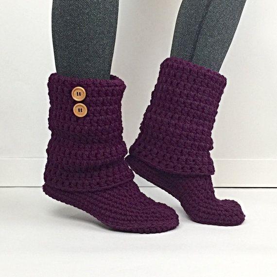 Women's Crochet Plum Slouchy Slipper Boots, Crochet Slippers,  Ladies Booties, Purple Leg Warmer Boot, Knitted  dark Purple Slipper Boots