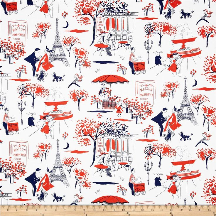 Michael Miller Paris Prepsters Gay Paree Red from @fabricdotcom  From Michael Miller, this cotton print is perfect for quilting, apparel and home decor accents.  Colors include white, navy and tomato red.