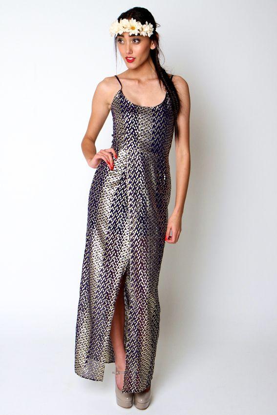 WEHERUA MAXI | Amber Whitecliffe Navy and Gold Metallic silk dress