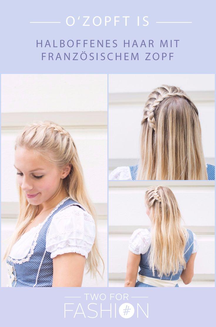#Oktoberferst #Flechtfrisuren #Dirndl #Wiesnfrisuren #Langehaare #Französischerzopf #DIY Auf unserem Blog könnt ihr euch toll Inspirationen für Oktoberfestfrisuren anschauen und nachflechten.  Anschauliche Step by Step Anleitungen findet ihr dort, z.B. für das halboffene Haar mit französischem-Zopf-Kranz.