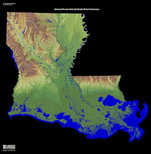 Карты США. Рельеф штата Луизиана