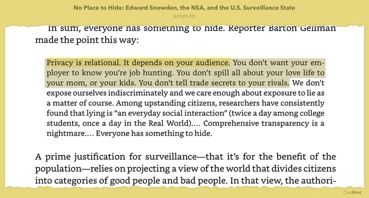 I love this explanation of why privacy matters! It's relational 👏👍 From the book No Place to Hide: Edward Snowden, the NSA, and the U.S. Surveillance State by Glenn Greenwald #privacy #thoughts #quotes #idea #books #read #highlights #psychology #life #emotion #amazing #smile #follow