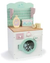 """The latest in the Le Toy Van range of wooden household sets. This little washing day set includes a washing machine built into a cupboard with """"tiled back"""" soap bottle and powder box. Matches the kitchen sink and stove  Very cute. AGE: 3+#toys2learn #letoyvan#honeybake#washing#play #pretendplay#toys#toy#children#child#kids"""